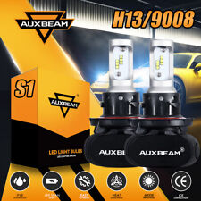 AUXBEAM 2x H13 9008 50W CSP LED Headlight Bulb Kit 8000LM 6500K High Low Beam S1