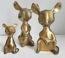 """Vtg 3 Mid Century Solid Brass Sarnia India 3"""" 5"""" 7"""" Mice Mouse Sculpture Set Lot"""