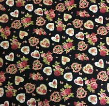 Black Shabby Chic Hearts & Flowers 100% Cotton Fabric Material BY HALF METRE