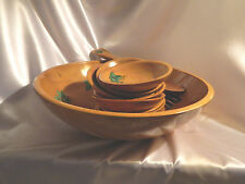 Vtg. Wooden Bowls Set of 10 Pieces Mid Century Modern Org. Ivy Finish Hand Made