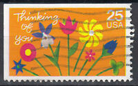 USA Briefmarke gestempelt 25c Thinking of you Blumen aus Markenheft / 322
