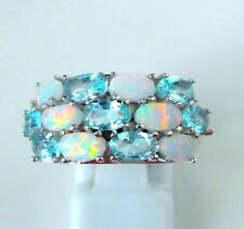 "GORGEOUS WHITE FIRE OPAL/AQUA MARINE  RING UK Size ""N"" US 7"