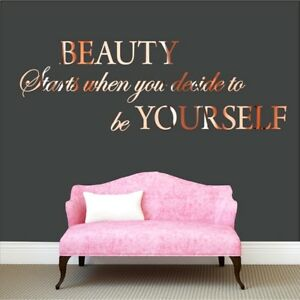 Beauty Stars when you...Wall Sticker Rose Gold Custom Quote Bedroom Living room