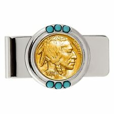 NEW Gold-Layered Buffalo Nickel Turquoise Coin Money Clip 13284