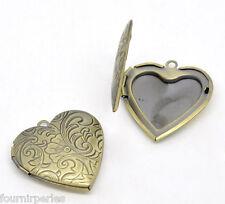 5 Pendentifs Porte Photo Coeur Amour Bronze Cadeau Pour Collier 29x29mm