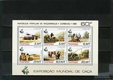 Mozambique 1981 Sc#750A ANIMAUX SAUVAGES / CHASSE Feuille de 6 Timbres MNH