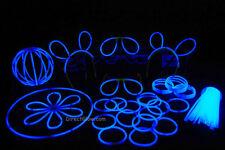 """100- 8"""" Blue Glow Stick Bracelets Party Pack"""