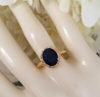 Vintage Jewellery Gold Ring with Blue and White Sapphires Antique Deco Jewelry N