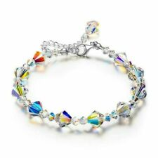 Aurora Borealis Bracelet Made with Swarovski Round Crystals 18K White Gold