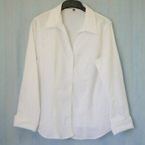 RIVERS Women's Blouse Buttons Collar Long Sleeve Ladies Size 14 White Stretch
