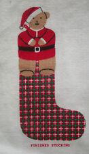 Christmas Santa  Bear plaid stocking fabric panel