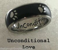 """Black Paw Print Ring """"Unconditional Love"""" Stainless Steel Dog Cat SZ 6-11"""