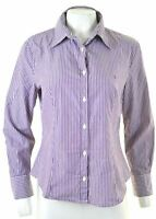 BENETTON Womens Pullover Shirt Size 14 Large Purple Striped  CK33