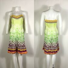 Rare Vtg Jean Paul Gaultier Green Mesh Ruffle Trim Dress S