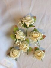 Wedding Flowers 6 x Cream Rose Buttonhole with Gypsophilia
