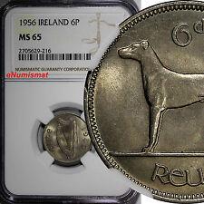 Ireland Republic 1956 6 Pence NGC MS65 Light Toned Irish Wolfhound KM# 13a