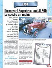 Rosengart Supertraction LR 500 1933  France  Car Auto FICHE FRANCE