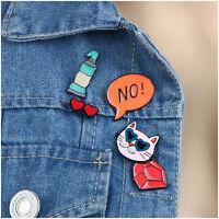 5pcs Enamel Cat Creative Cute Collar Pin Badge Corsage Cartoon Brooch Jewellery