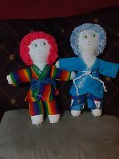 Lot 2 Handmade Folk Art Dolls vintage primitive rainbow yarn hair funny faces