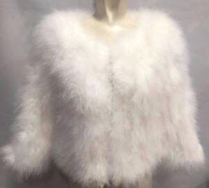 Luxury Women 100% Real Soft Ostrich Feather Fur Ladies Jacket