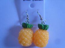Ohrring mit ganzer Ananas grüner Strauch Obst aus Kunststoff 2795