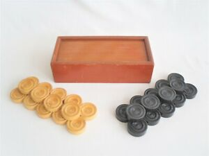 Nice Set of Vintage DRAUGHTS Pieces in Wooden Box - checkers game