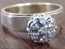 NATURAL DIAMOND CLUSTER TEXTURED WIDE BAND RING 14K GOLD 5.7g SIZE 9 (12061-11)