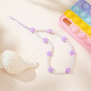 Charm Mobile Phone Chain Cell Phone Lanyard Heart Beaded Mobile Phone Straps