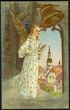ANGEL SINGING in White CHRISTMAS Greeting Postcard c 1910 - Gold Wings and Bell