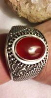 Bali Indonesia Sterling Silver Carnelian Gemstone Cuff Bracelet 925