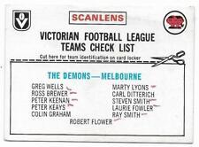 1976 Scanlens Checklist Melbourne Demons ::