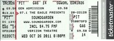 OCTOBER 26 2011 SOUNDGARDEN GRAND PRAIRIE TEXAS VERIZON UNUSED TICKET STUB