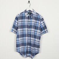 Vintage RALPH LAUREN Classic Fit Short Sleeve Check Shirt Blue | Medium M