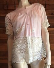 Vintage Pink Size Medium Bed Jacket with Lace Trim #9272