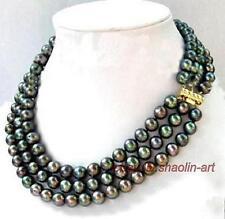 3 rangée, Akoya, noir, perles d'eau douce, collier, 43cm