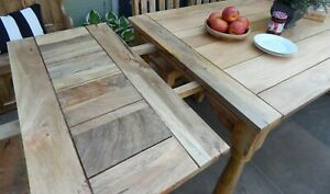 Large Rustic Extending Farmhouse Country Kitchen Dining Table Solid Hardwood