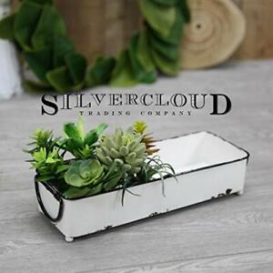 "NEW Large Rustic White Rectangle Metal Bin - 16.5"" Great for Display or Storage"