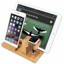 4 in 1 Wooden Desk Stand Holder Charge Dock Station For Apple Watch iPhones iPad