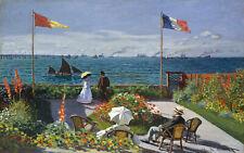 claude monet vintage painting art print lady beach boats flowers canvas france