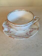 Theodore Haviland LIMOGES  Cup and Saucer Gold Rose Swags Excellent!