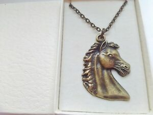 Bronze Horse Necklace Chain Ladies Girls Equestrian Jewellery Gifts