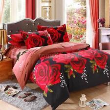 4x 3D Bedding Set Red Rose Pattern Queen Duvet Cover+Bed Sheet+2 Pillowcase N4B8