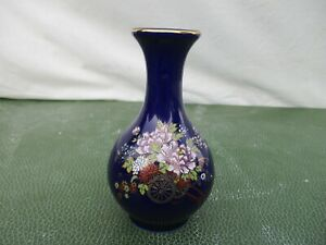 Vintage Kutani Japanese Vase Cobalt Fuji Porcelain Japan Floral Sakura Gold Trim