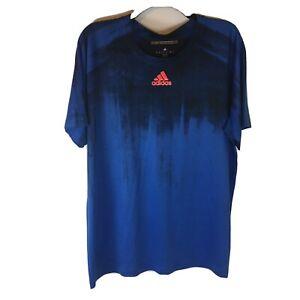 Adidas Athletic T Shirt Men XL Short Sleeve 100% Polyester Climalite Blue Black