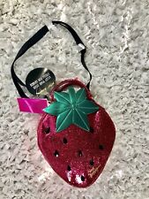 💋BETSEY JOHNSON STRAWBERRY PINK GLITTER SPARKLE INSULATED LUNCH TOTE Crossbody