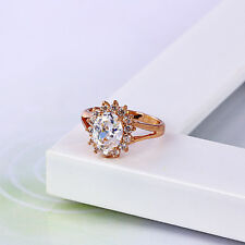 Gorgeous18k Gold filled Luxury Women's Ring with White stone-Size 6US