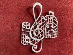 Treble Clef sew-on lace motif, appliqué, patch, music
