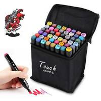 Markers 40 Colours Pen Set Graphic Drawing Painting Twin Tip Art Sketch Pens