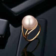 18 Ct Oro Amarillo Natural De Agua Dulce Perla y Diamante Anillo de cóctel de belleza