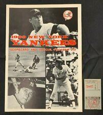 1969 NEW YORK YANKEES BOSTON RED SOX BASEBALL PROGRAM/SCORE CARD SCORED W/TICKET